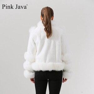 Image 3 - Różowy java QC19044 new arrival hot sprzedaż kobiety zima prawdziwe futro z lisa rex królik futro kurtka czysty biały płaszcz chiński styl