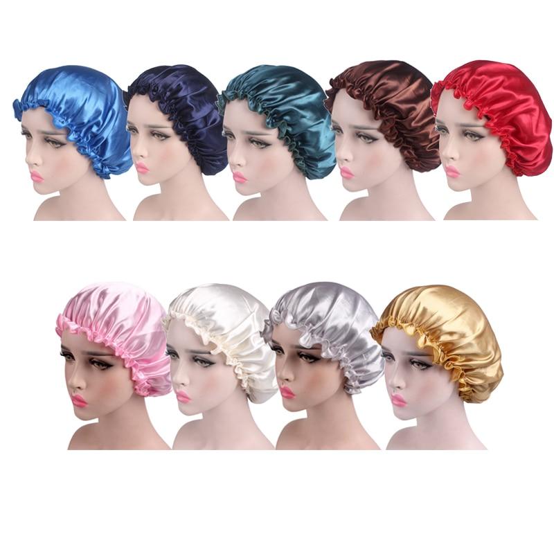 Adjust Satin Lace Hat Night Sleep Hair Styling Cap Hair Care Bonnet Caps Sleeping Nightcap For Women Hair Styling Accessories