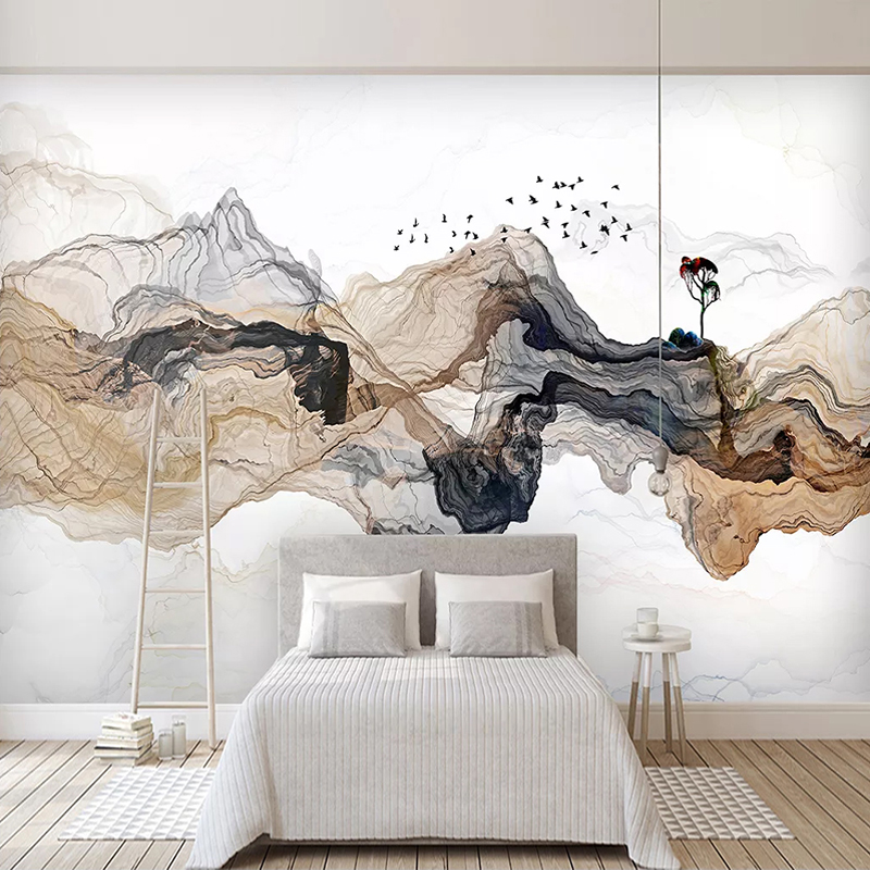 Custom Mural Papel De Parede 3D Abstract Smoke Mountain Water Background Wall Decor Painting Bedroom Study Room Home Wall Paper