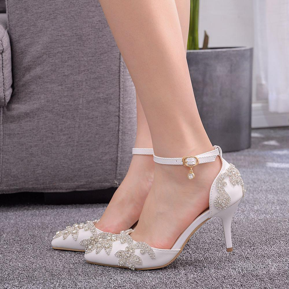 Women Slim High Heel Pointy Toe Rhinestone Ankle Strap Plus Size Pumps Hot Shoes