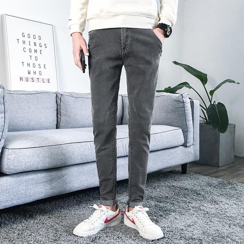 Spring Summer Jeans Men Fashion 2020 Korean Slim Fit Stretched Casual Mens Jeans All Match Simple Denim Pants Men 34 28 Gray Leather Bag