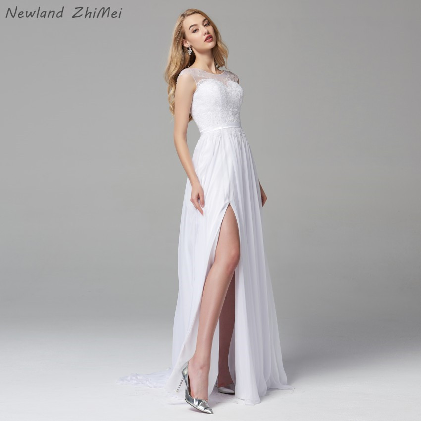 <font><b>Boho</b></font> <font><b>Wedding</b></font> <font><b>Dresses</b></font> <font><b>2019</b></font> Vintage <font><b>Sexy</b></font> Design A Line Side Slit Long <font><b>Backless</b></font> Chiffon Bride <font><b>Dress</b></font> vestido de noiva barato image