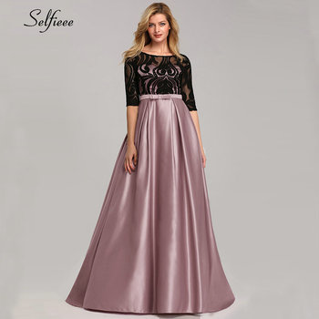 Elegant Dresses A-Line O-Neck Empire Bow Lace Contrast Color Sexy Woman's Dresses Evening Formal Party Gowns 2020 Robe ete Femme 2