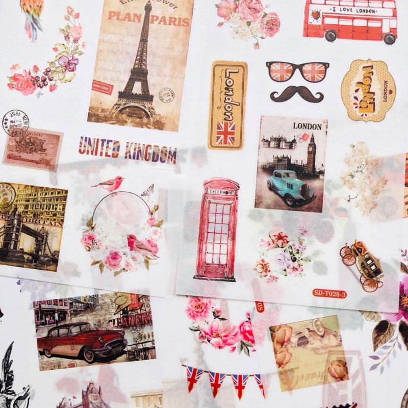 6 folhas/Pacote de Viagem À Moda London Paisagem Decoração Adesivo DIY Álbum Diário Scrapbooking Etiqueta de Papel Adesivo