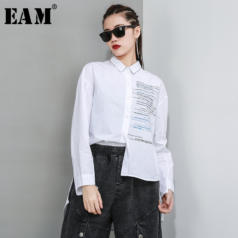 [EAM] Women White Letter Printed Asymmetrical Blouse New Lapel Long Sleeve Loose Fit Shirt Fashion Tide Spring Autumn 2020 1R616