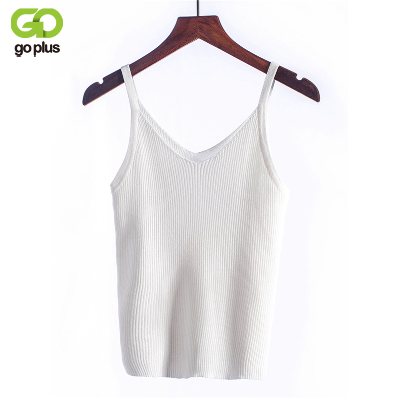 GOPLUS Knitted Tank Tops Women Camisole Vest Simple Stretchable V Neck Slim Sexy Strappy Hot Moda Mujer C4891