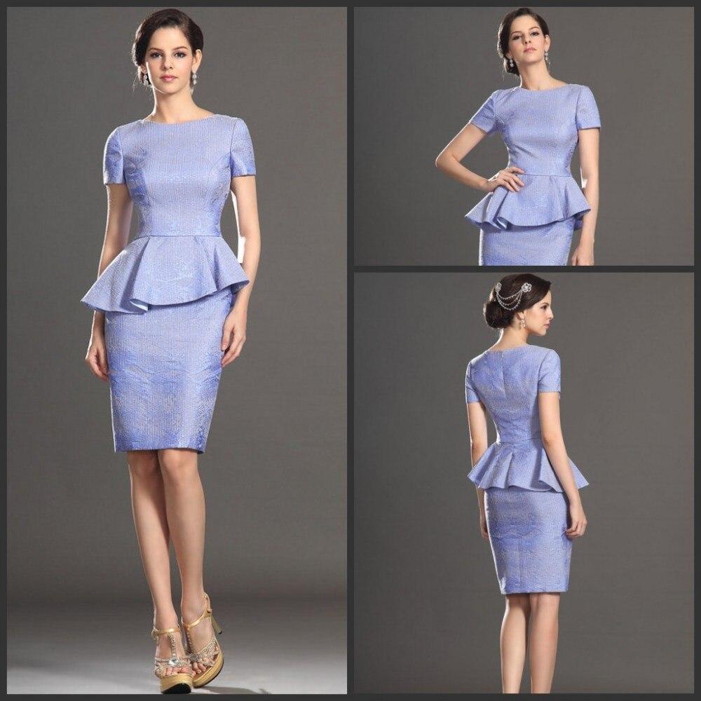 Custom Made Lavendar Jacquard Fabric Handmade Supply Short Sleeves Mother Of The Bride Dress (26130238)