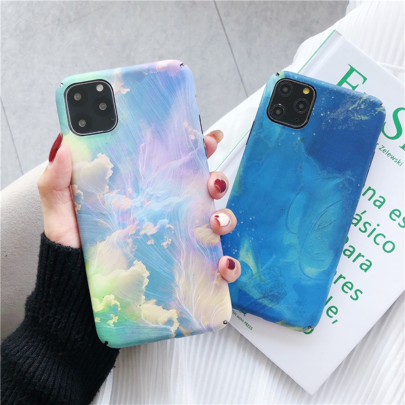 3D Relief Matte <font><b>Case</b></font> for <font><b>iPhone</b></font> 11 Pro Max 11Pro XS Max XR X 8 7 6 6S Plus SE 2020 <font><b>Case</b></font> Moon Stars Ink Painting Hard Cover Funda image
