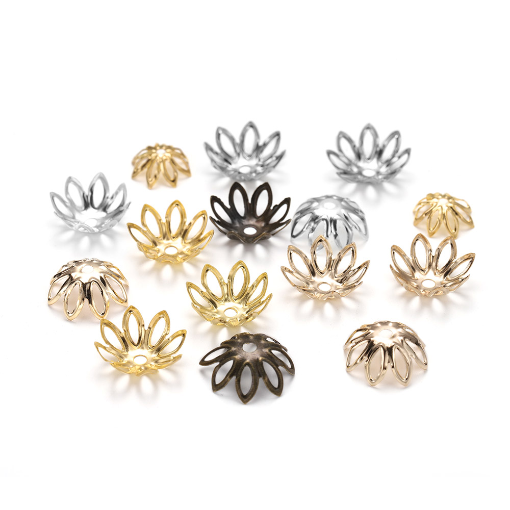 100pcs/lot Silve Gold Rhodium Bulk Flowers Beads Caps 11 14 Mm Spacer Loos Charm Bead Cap For Jewelry Making Findings Supplies