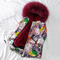 Dollplus 30 Degrees Winter Girls Jacket Coat Girl Long Fur Clothes Kids Warm Thicken Hooded Real Fur Coats Teen Outwear Parka