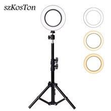 Kit de iluminação para fotografias, kit profissional para fotografias, 6 polegadas, com anel luminoso de led para estúdio, maquiagem, selfie e preenchimento de luz com tripé e suporte