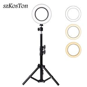 Image 1 - Profesyonel 6 inç LED halka ışık fotoğraf stüdyosu kamera ışık fotoğrafçılığı kiti makyaj Video Selfie lambası Tripod standı