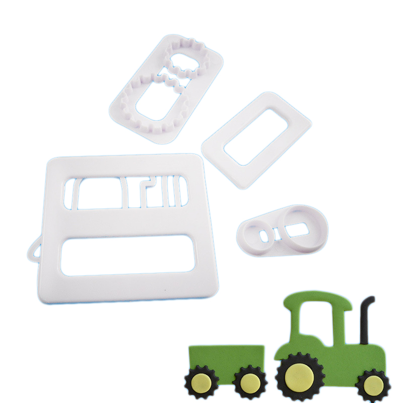 4Pcs/Lot Tractor Car Shaped Biscuit Cutting Molds Cookie Mould Tools Cake Decorating Candy Tools Sugar Printing Die Mold Tool