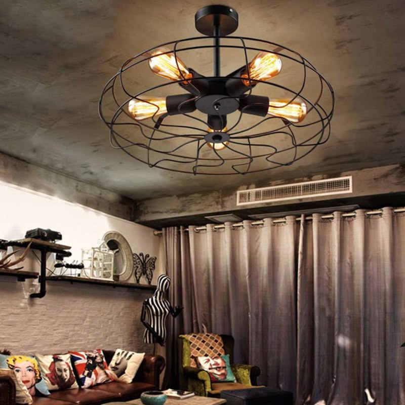 Винтажные 5 головок железные подвесные светильники Ретро промышленные веерные светильники потолочные американские страны кухня Лофт лампы без E27 лампы