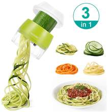 Handheld Spiralizer Vegetable Fruit Slicer 3 in 1 Adjustable Spiral Grater Cutter Salad Tools Zucchini Noodle Spaghetti Maker