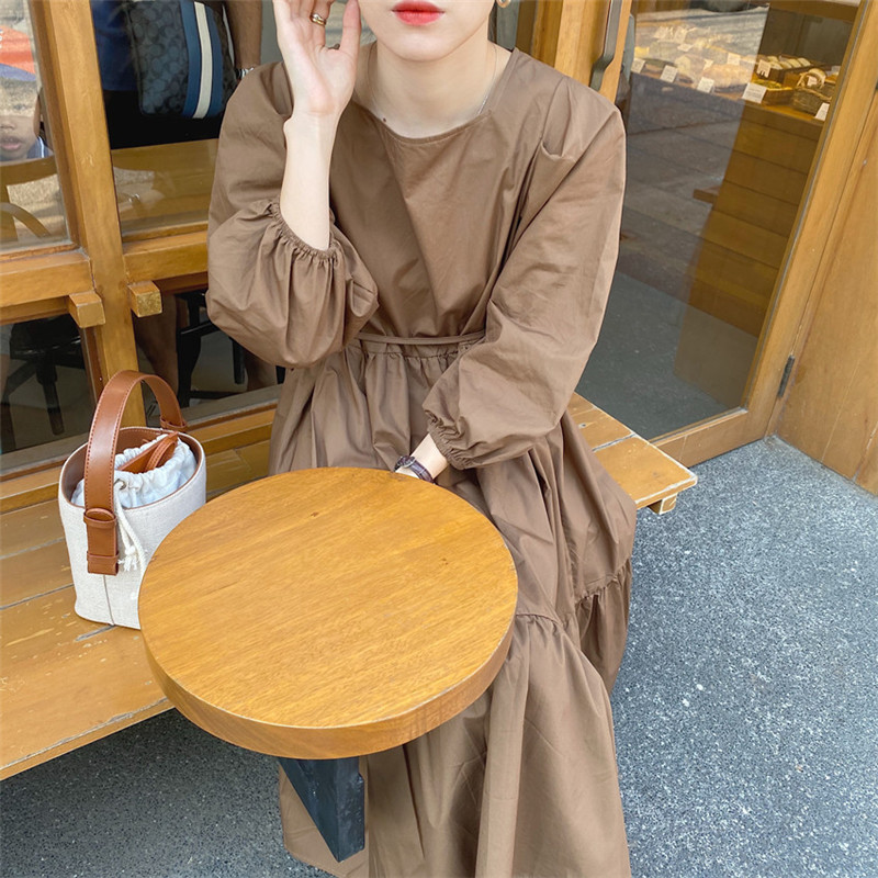 H1227347202784ac08060948e84a2115bn - Spring / Autumn Square Collar Long Lantern Sleeves Loose Solid Midi Dress