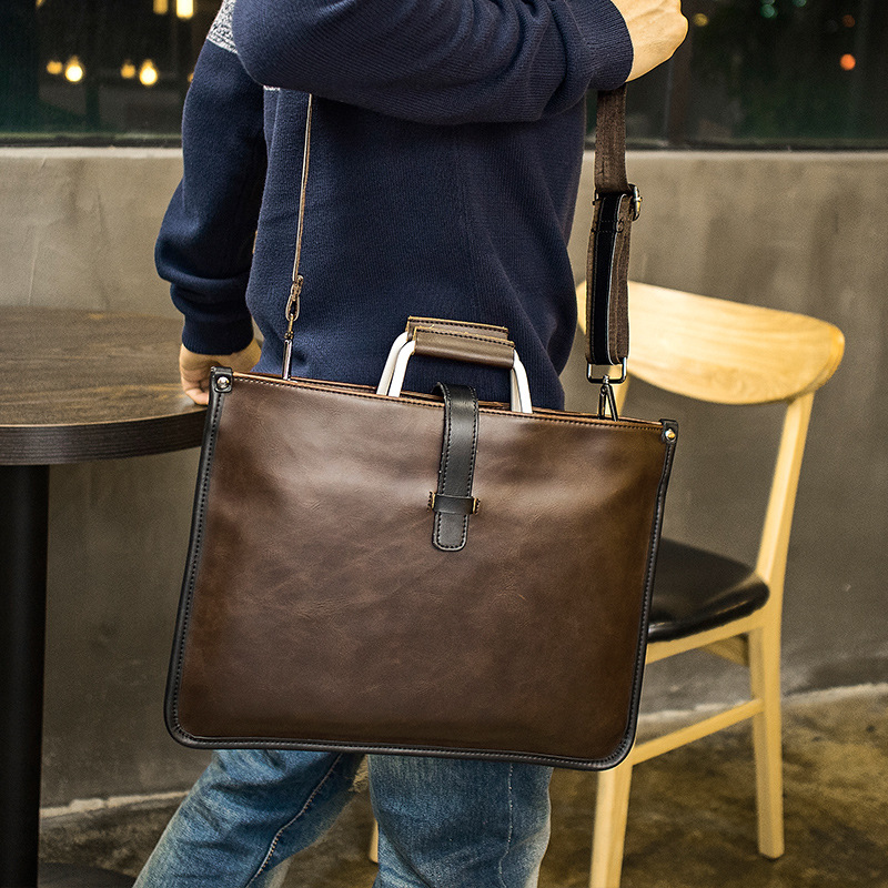 Hot Korean Male British Retro Bag Men's Handbag Stylish One-shoulder Crossbody Bag Briefcase Portable One Shoulder Bag
