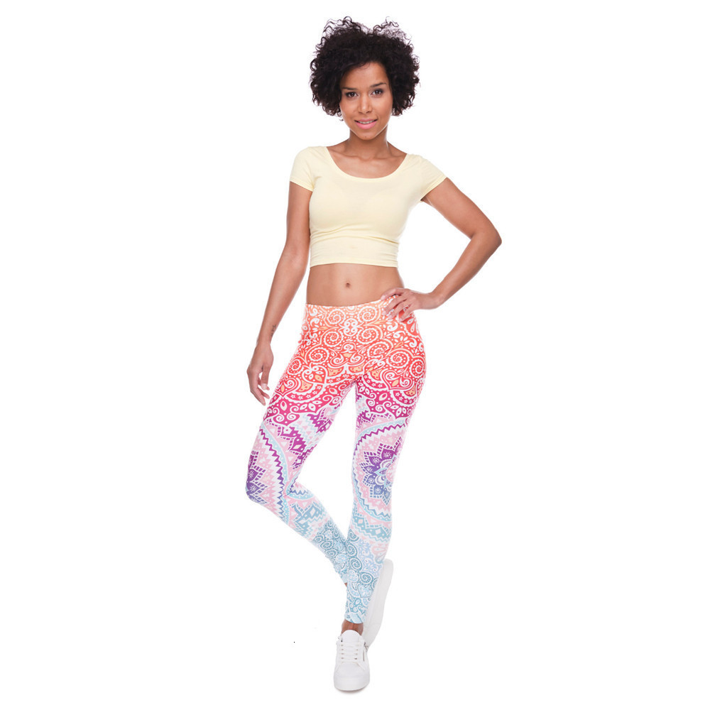 Brands Women Fashion Legging Aztec Round Ombre Printing leggins Slim High Waist  Leggings Woman Pants 49