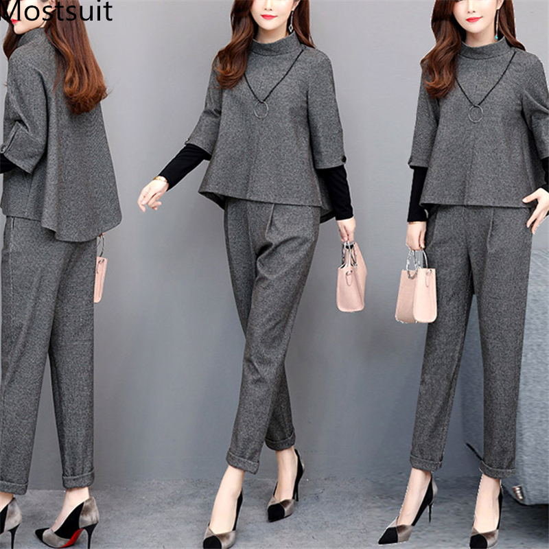 2019 Autumn Grey Elegant Two Piece Sets Outfits Women Plus Size Fake Two Pieces Tops And Pants Suits Office Korean Ladies Sets
