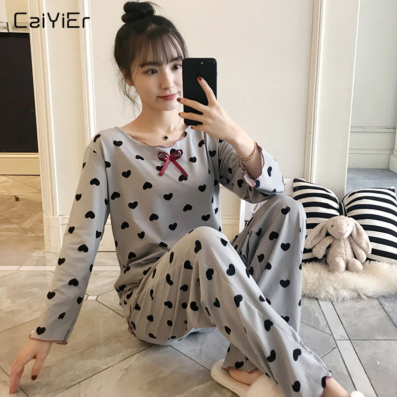 Caiyier Autumn Pajamas Set Black Peach Heart Print Nightwear Thin Long Sleeve Sleepwear Cute Bowknot For Women Causal Homewear