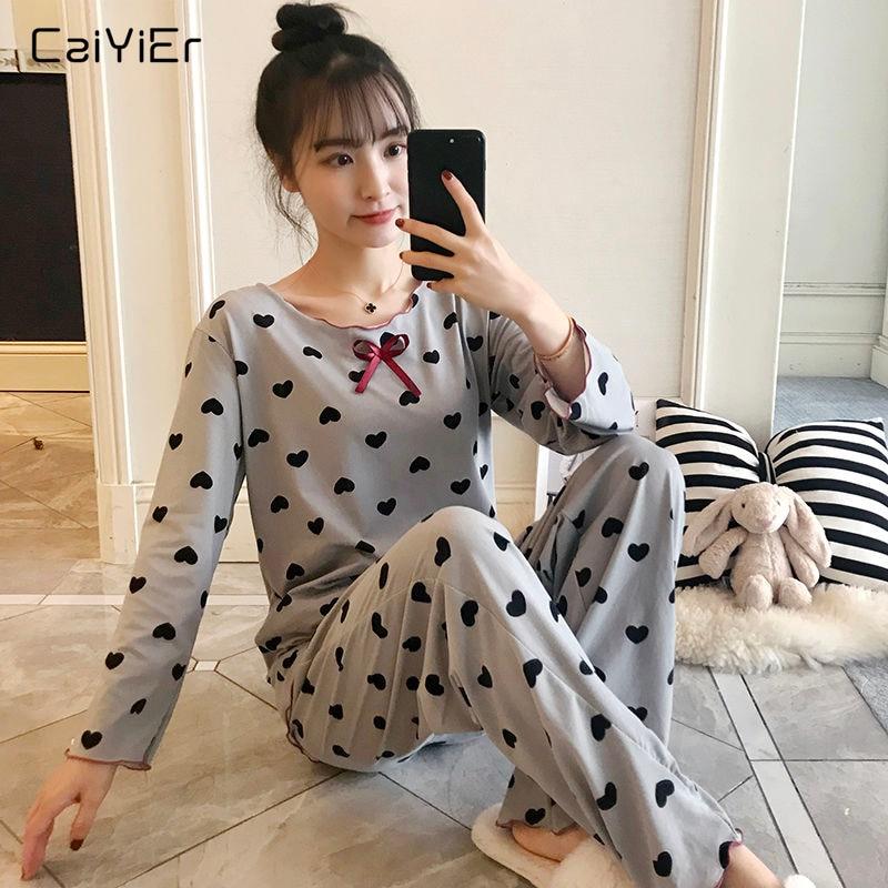 Caiyier Autumn Pajamas Set Black Peach Heart Print Nightwear Thin Long Sleeve Sleepwear Cute Bowknot For Women Causal Homewear