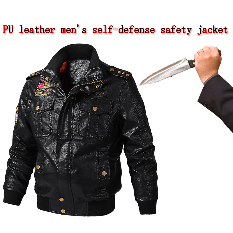 New Self-defense Stab-proof Anti-hacking Jacket Men PU Leather Plus Size Military Tactics Police Fbi Safety Protective Clothing
