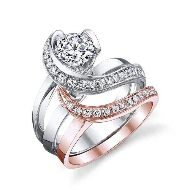 Two-tone Separation Couple Ring Elegant Ladies Wedding Ring Exquisite Rhinestone Wedding Engagement Fashion Ring