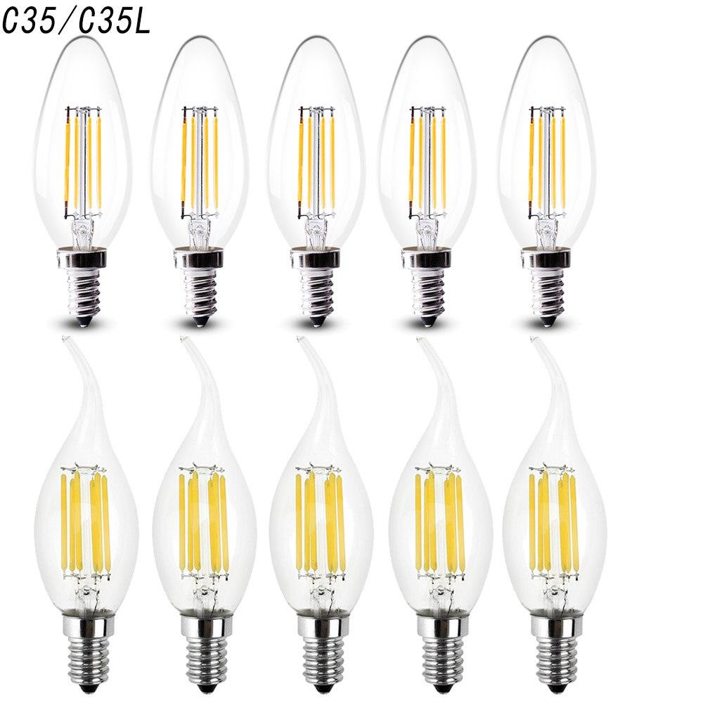 10 шт. без затемнения Светодиодный лампа-свеча с нитью накаливания лампа E14 220 В 2 Вт 4 Вт 6 Вт C35 C35L Эдисон лампа ретро антикварная винтажная лам...