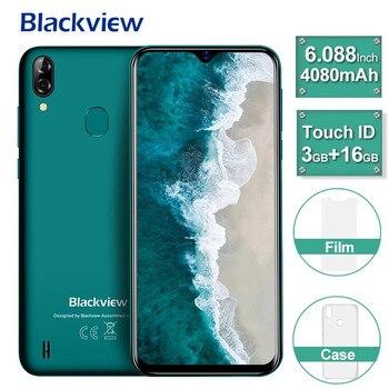 Перейти на Алиэкспресс и купить Оригинальный Blackview A60 Pro смартфон 3 ГБ + 16 Гб MT6761V мобильный телефон Android 9,0 в виде капли воды, Экран 4080 мАч Face ID 4G мобильный телефон