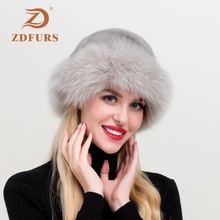 ZDFURS*New arrival brand women real mink fur hat fox trim natural cap whole skin winter Russian snow fedora hats