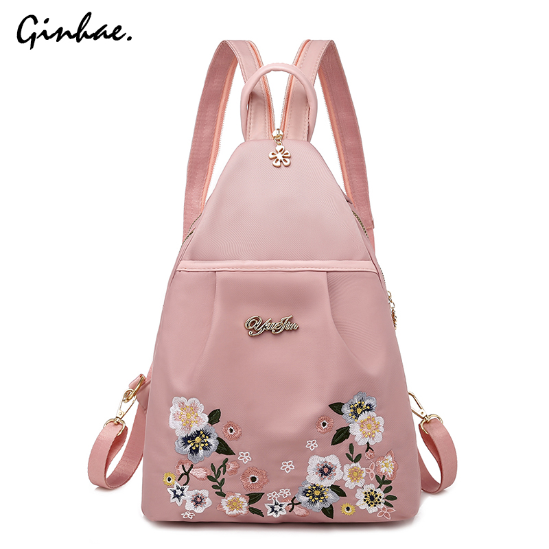 Casual Oxford Personality Backpack Women Anti Theft Shoulder Bag Flowers Embroidery School Bag For Teenage Girls Cute Chest Pack