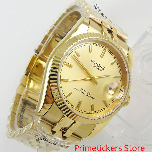 36mm PARNIS Yellow Gold Dial Date 821A Automatic Mens Watch Stainless Steel Strap With Gold Plated