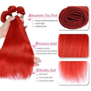 Image 4 - Rot 99J Burgund Gerade Haar Bundles 1/3 Pcs Brasilianische Haarwebart Bündel Rote Menschliches Haar Weave Extensions Pinshair Remy Haar