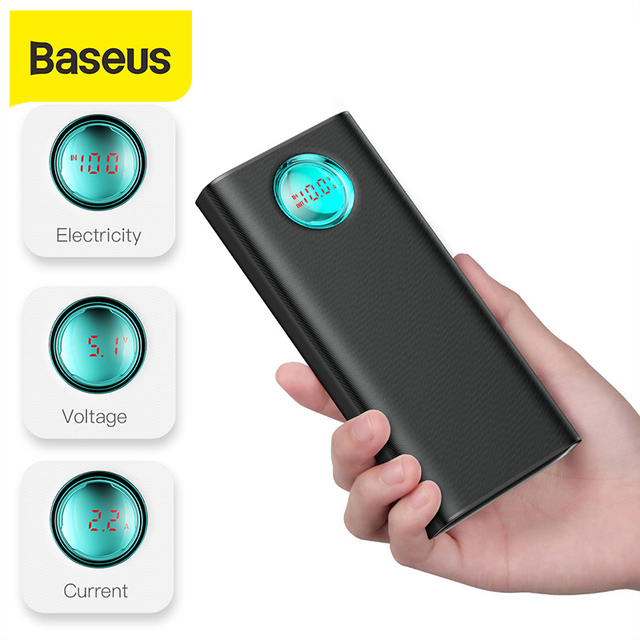 Baseus 20000mAh Power Bank 18W PD3.0 QC3.0 Fast Charging  Outdoor Portable Charger Travel External Battery Powerbank For Phone