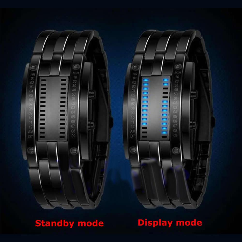 Creative Stainless Steel Blue LED Date Rectangle Bracelet Digital Watch Waterproof Binary Wrist Watch Men Women Couple Watch Пара смотреть