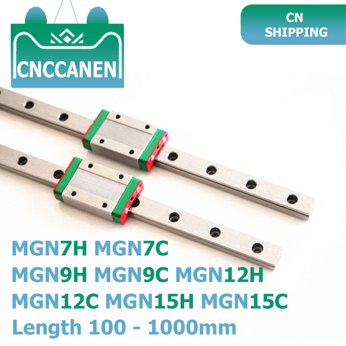 MGN7 MGN9 MGN12 MGN15 100-1000mm Miniature Linear Rail Slide 2PCS MGN9 Linear Guide +2PCS MGN9H Or MGN9C Carriage 3D Printer CNC