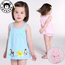 цены на Children Clothes Suits Kids Summer Dress Baby Sling Skirt Sleeveless Cotton Casual Vest Set Cartoon Camisole Girl Shorts Skirt  в интернет-магазинах