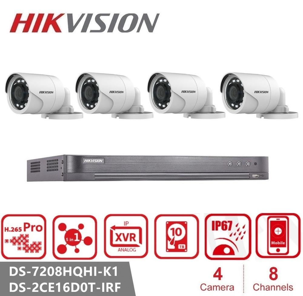 Hikvision 2MP Night Vision CCTV Kit Outdoor Video Surveillance System 8CH DVR 4PCS Security Camera Set DS-2CE16D0T-IRF