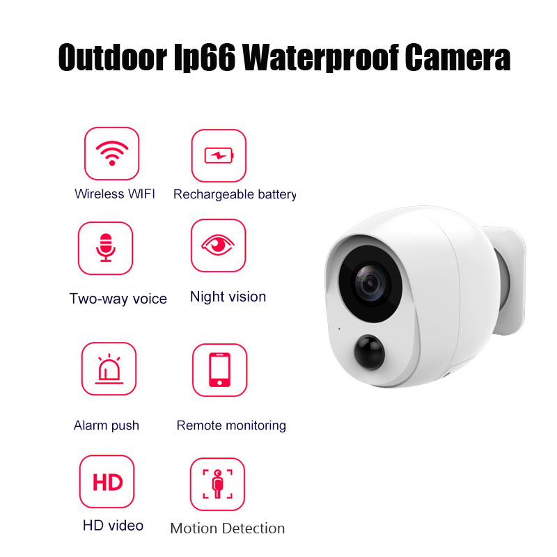 1080P Wifi Outdoor Ip Camera Battery Wireless Camera Network Low Power Home Security IP66 Waterproof Remote Monitoring Camera