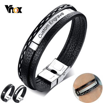 Vnox Customize Name Quotes Leather Bracelets for Men Glossy Stainless Steel Layered Braided Bangle Personalized DAD Husband Gift vnox customize name quotes leather bracelets for men glossy stainless steel layered braided bangle personalized dad husband gift
