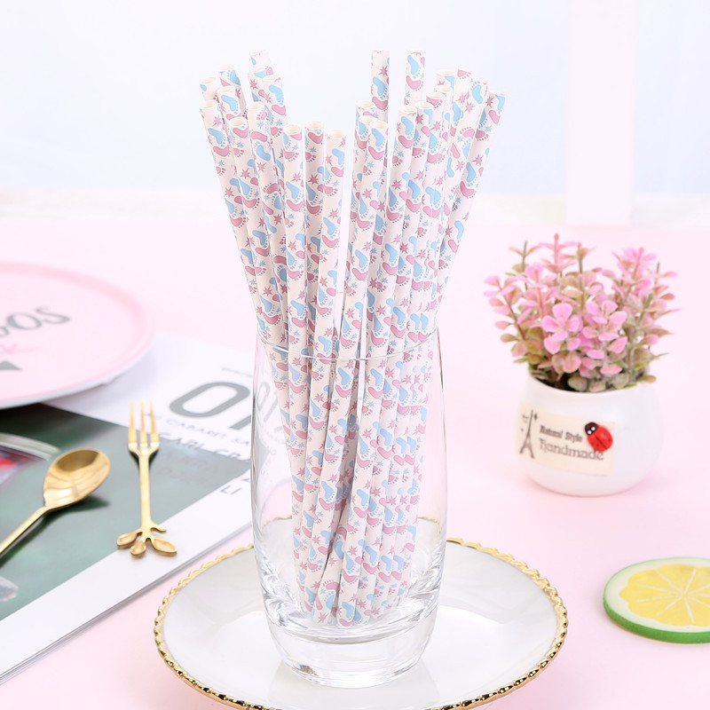 Disposable Foot Creative Paper Sucker Party Dessert Fruit Juice Decoration 25 Handmade Environmentally Friendly Straw Paper