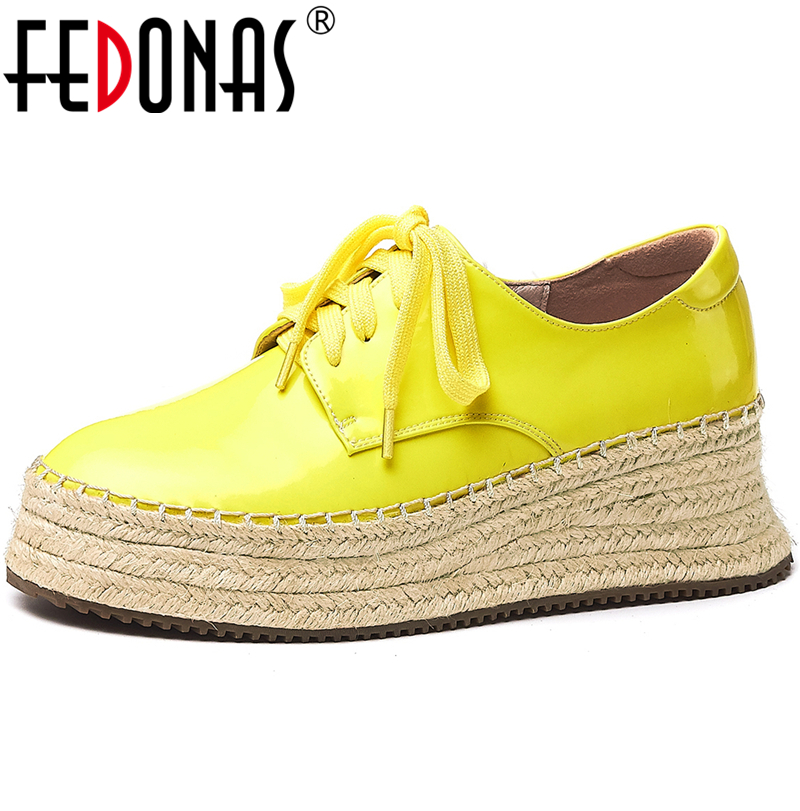 FEDONAS  Concise Women Flats Basic Casual Shoes Lace Up Patent Leather Shoes 2020 Spring New Arrival Brand Design Shoes Women
