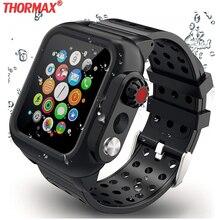 Funda resistente al agua con banda de silicona para Apple Watch Series 5 4 3 2 1 para iwatch 38/42/40/44mm, funda protectora de pantalla