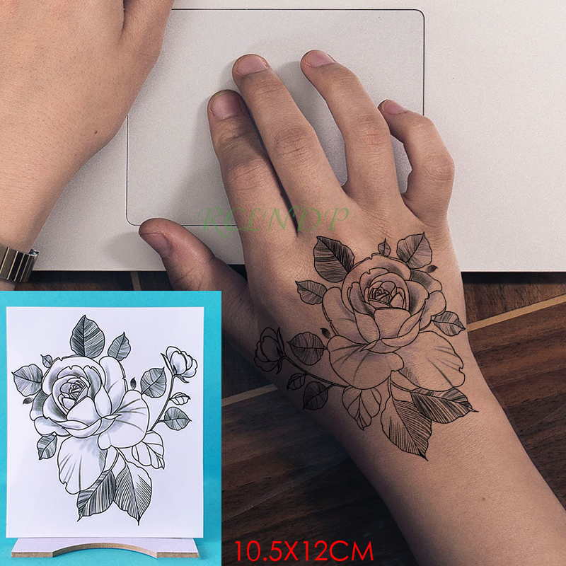 Waterproof Temporary Tattoo Sticker Rose Flower Fake Tatto Personality Flash Tatoo Hand Arm Foot Back Tato For Girl Women Men