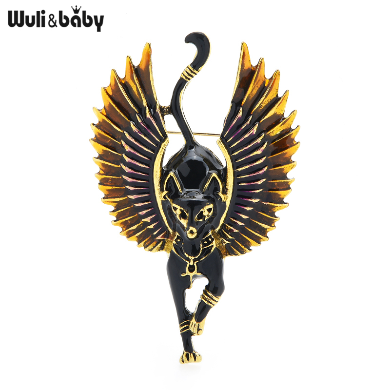 Wuli&baby Flying Angel Cat With Wings Enamel Animal Brooch Pins Egypt Bastet God Of Music & Family