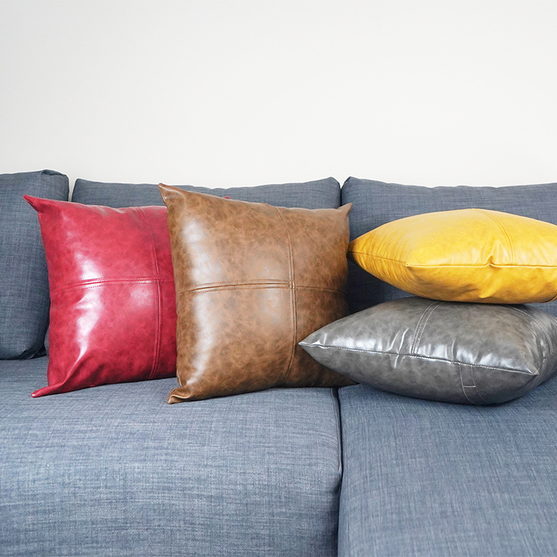 45x45/<font><b>50x50</b></font>/50x30/60CM imitation leather <font><b>cushion</b></font> <font><b>cover</b></font> backrest sofa thick pu leather wasit pillow case image