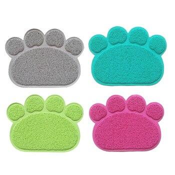 PVC forma de pata almohadilla de impresión perro estera para residuos de gato mascota cachorro gatito plato de alimentación tazón de comida mantel antideslizante impermeable almohadilla para dormir