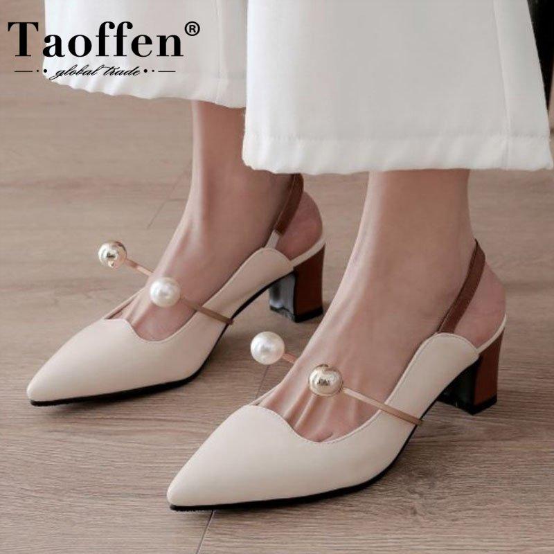 Taoffen Women Pumps Beads Slip On Shoes Pointed Toe High Heel Shoes Women Office Work Women Footwear Size 32-48