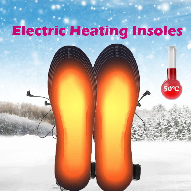 Rechargeable Heated Insoles Foot Warmer USB Charging Heat Boots Shoes Pad New