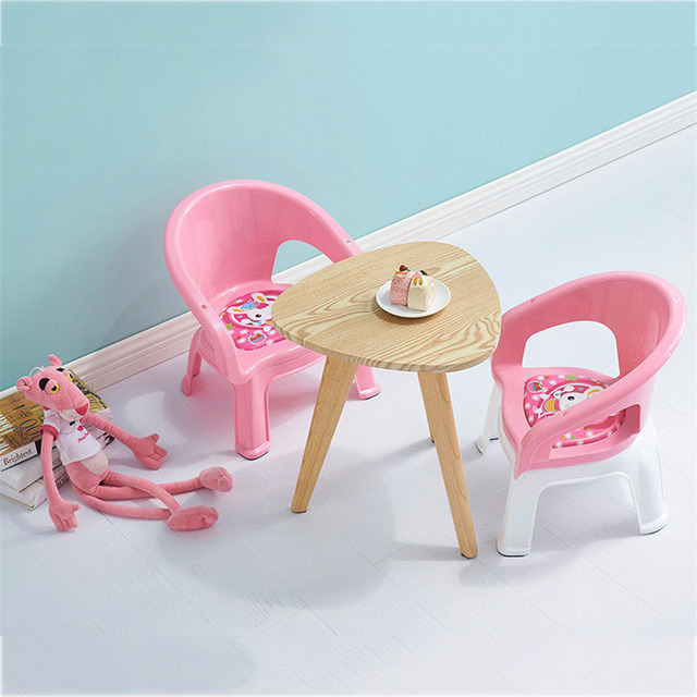 2019New Children's Dining Chair With Plate Baby Eating Table Baby Chair Dining Table Back Call Called Chair Baby Plastic Stool 1